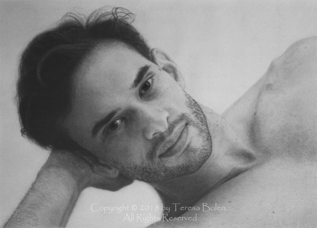 A3 size graphite pencil drawing by Teresa Bolen; reference photo by Teresa Bolen
