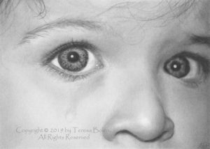 A5 size graphite pencil drawing on paper by Teresa Bolen; reference photo by Myriams-Fotos